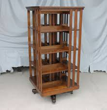 Image is loading Antique-Revolving-Oak-Bookcase -original-finish-Danner-mission-