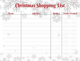 Printable Christmas Gift List Template Free Christmas Shopping List Template Stay Sane Organized