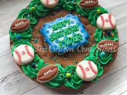 Football Cookie Cake Designs Pin By Tracy Rauls On Cookies In 2019 Giant Cookie Cake