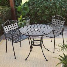 outdoor wrought iron furniture. Small Patio Furniture Wrought Iron Outdoor Decor Bistro Set Table Chairs Party