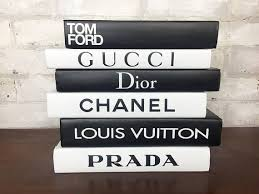 Designer Books Decor 100 BOOKS Black White Designer Book Set Chanel Louis 2
