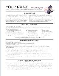 Interior Design Resume Examples Interior Design Resume