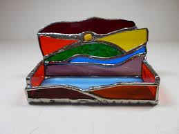 Custom Made Multi Colored Stained Glass Business Card Holder With