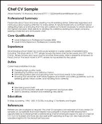 Cv Guidelines Chef Cv Sample Sample Resume For A Chef Barraques Org
