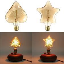 kingso 220v e27 40w edison incandescent filament light retro vintage lamp star heart shape bulb