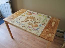 Wooden Monopoly Board Game See This Plain Kitchen Table Transform into a Giant Monopoly Board 99