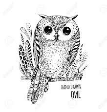 手描きイラスト鳥アート塗り絵大人用かわいい黒と白フクロウ スケッチ