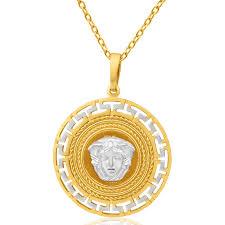 9ct yellow gold white gold key of life medusa pendant 10005636 jewellery shiels jewellers