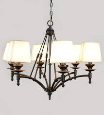 margarette black 6 arm with white shade chandelier by jainsons emporio