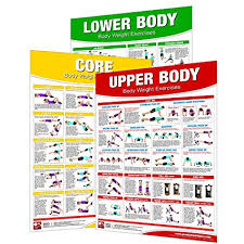 No Equipment Ab Exercises Chart Amazon Com Laminated Bodyweight Workout Set Of Posters