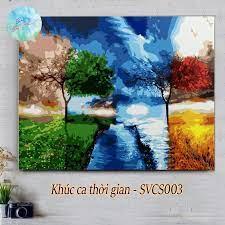 Tranh sơn dầu số hóa DIY tự tô màu theo số có khung KHÚC CA THỜI GIAN  SVCS003 (Tranh phong cảnh thiên nhiên đẹp góc sắc màu)