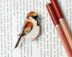 Mano-dibujado Wren broche de pájaro. | Jewell, Bird, Animals