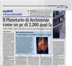 Il planetario di archimede ritrovato ing. giovanni pastore