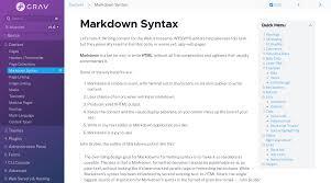 Markdown Syntax Grav Documentation