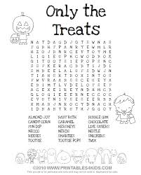 Small Picture Halloween Treats Word Search Printables for Kids free word