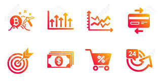 Special Offer Target And Growth Chart Line Icons Set