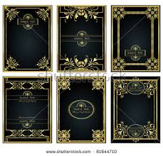 vine gold frame designs can be use for book cover