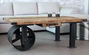 industrial coffee table with wheels s style round