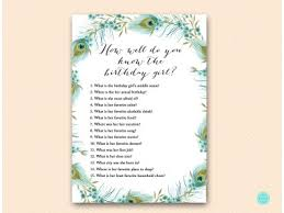 Printable birthday reminder ~ Printable birthday reminder ~ Bs how well do you know birthday girl peacock party birthday