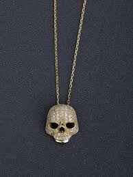 micro inlay zircon bling bling skull 925 silver necklaces
