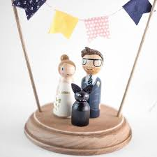 Cake Topper With Pet Rustic Wedding Cake Topper Peg People Cat