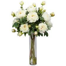 H White Peony with Cylinder Silk Flower Arrangement