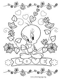 Small Picture Tweety Tweety love coloring page