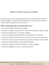 Top 8 it liaison resume samples In this file, you can ref resume materials  for ...