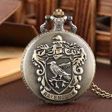 retro ravenclaw designer quartz pocket watch harry potter necklace chain fob clocks for men women xmas gifts relojes de bolsillo pocket watches for