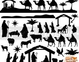 nativity silhouette printable. Baby Christ Clipart Christmas Nativity Scene Krippe Set Digital Illustration Scrapbook Art Props Printable And Silhouette