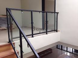 mild steel staircase railing with tempered glass