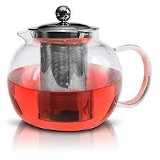 glass teapot by kitchen temptations microwavable and stove top tea kettle and tea pot strainer with stainless steel loose leaf infuser rust free and holds