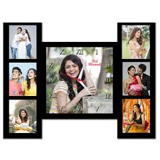 personalized 7 picture collage square wall clock with base frame