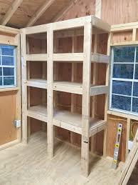 storage shed shelving ideas. Modren Ideas Shed Storage Ideas Adding Tops To DIY Wood Shelves Throughout Storage Shed Shelving Ideas E