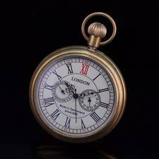 open face analog modern pocket watches luminous hands retro open face copper material yellow gold tone sub dials wind up pocket watch
