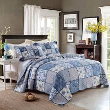 100 cotton quilt. Brilliant Cotton CHAUSUB King Patchwork QUILT Set 100 Cotton Quilts Bed Sheets Quilted  Bedspread Pillowcase 3PC Printed Bedding Coverlet Bluein From Home U0026 Garden  Throughout 100 Quilt A