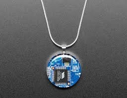 new product blue circuit board pendant necklace with silver chain