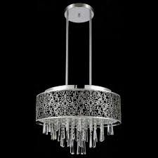 picture of 20 drago modern crystal round laser cut stainless steel shade black fabric pendant black fabric lighting