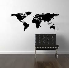 black world map wall decal on white walls