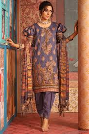 3 Piece Embroidered Suit With Jacquard Dupatta Alkaram Studio