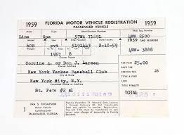 don ln 1959 florida motor vehicle registration new york yankees