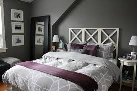 Dark Grey Purple Bedroom Design With Classic Small Wooden Side Table Small  Table Lamp Plus Dark