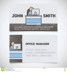 Office Stationery Design Templates Business Card Print Template With Office Manager Logo Stock