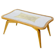 mid century modern art deco style etched glass coffee table for