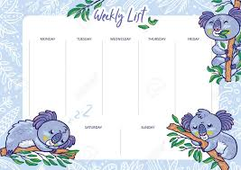 Cute Template Cute Weekly Calendar Planner With Koalas Schedule Design Template