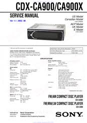 sony cdx ca900x fm am compact disc player manuals sony cdx ca900x fm am compact disc player service manual