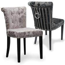 shankar baroque velvet effect chrome ring back chair mink or charcoal x2