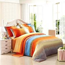 funky bright orange grey and aqua blue ticking stripe print full queen size brushed cotton bedding orange blue reversible queen comforter
