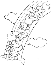 Small Picture Rainbow Care Bears Playing Slides Together Coloring Page