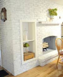 painted white brick fireplaceWhite Brick Fireplace With Dark Wood Mantel Surround Painted Ideas